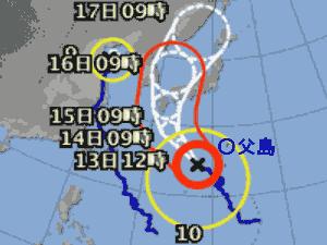 台風10号 台風経路図 20190812
