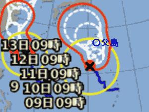 台風10号 台風経路図 20190808